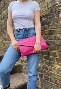 Bright Pink Faux Lizard Skin Faux Leather Clutch