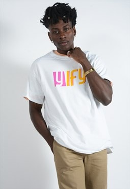YIFY t-shirt in white with graphic print logo.