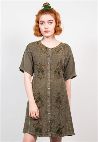 VINTAGE 90'S GREEN BOHO STYLE MINI DRESS