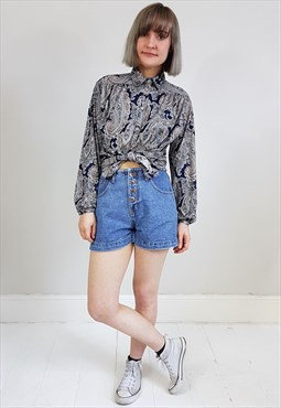 Vintage 90's Denim High Waisted Shorts W/ Metal Buttons