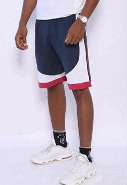 Vintage Champion Tape Logo Shorts Blue