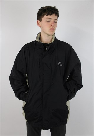 VINTAGE KAPPA BLACK SPORTS WEATHERPROOF JACKET