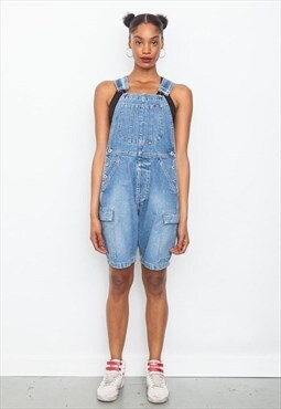 Vintage 90's light blue denim short dungarees