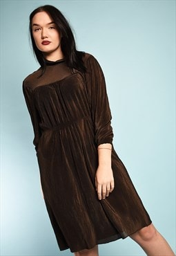 Vintage 70's retro elegant corrugated midi dress