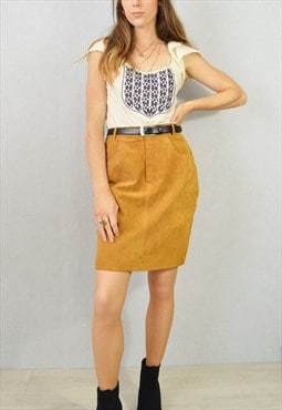 Vintage 80s Suede Skirt Pencil Leather Tan Brown Revival