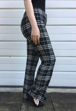 Womens Burberry trousers black white tartan nova check pants