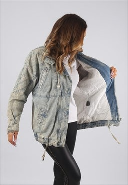 Vintage Denim Bomber Jacket Oversized Acid Wash UK 14 (JR2U)