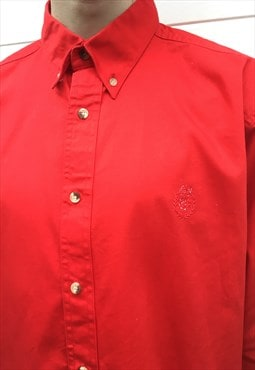 Mens Vintage 80s Chaps Ralph Lauren shirt red button up top