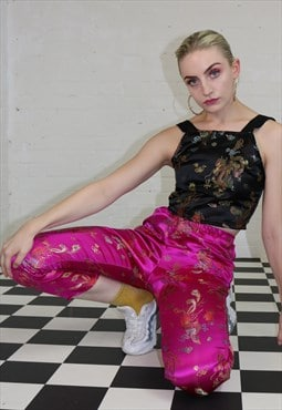 High Waist Trousers in Pink Dragon Print
