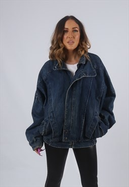 Vintage Denim Bomber Jacket Oversized Fitted UK L 14 (KBI)