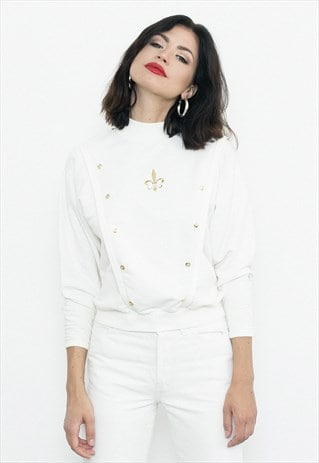 WHITE PULLOVER WITH GOLD