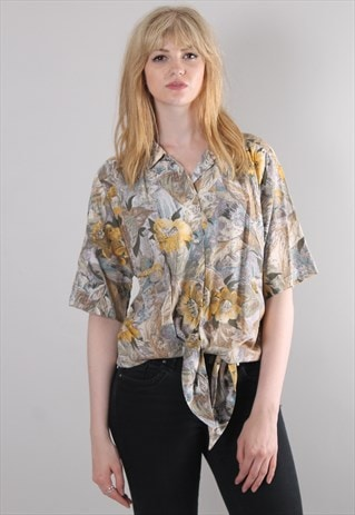 VINTAGE 80S FLORAL PATTERNED TIE SHIRT TOP