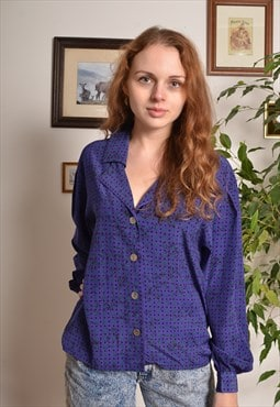 Vintage 80s Patterned Shirt in Purple