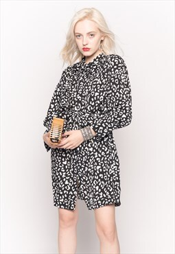 Long Sleeve Shirt Dress with Tie Waist in Black and White
