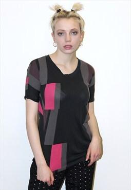 Marc Jacobs grunge urban contrast grey pink print tshirt top