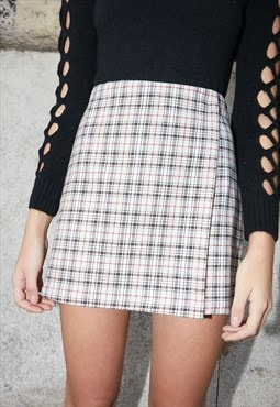 Wrap skirt in checkered pattern - beige, brown, red, white