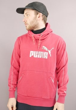 Vintage Puma Hoodie In Red With Logo