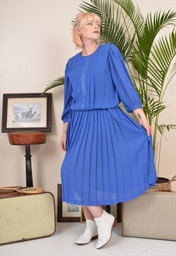 Vintage 80s Pleated Long Sleeve Waisted Midi Dress Blue