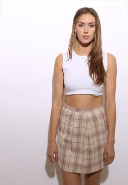 vintage 1960's 60's plaid pastel mini skirt linen cotton S-M