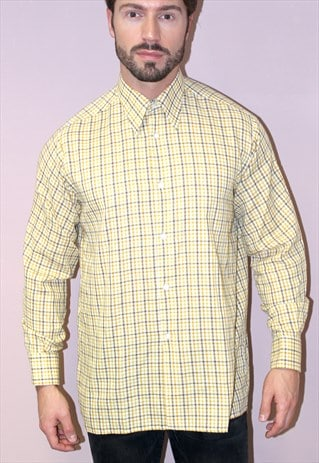 VINTAGE 70S CHECKED SHIRT FESTIVAL INDIE HIPSTER YELLOW
