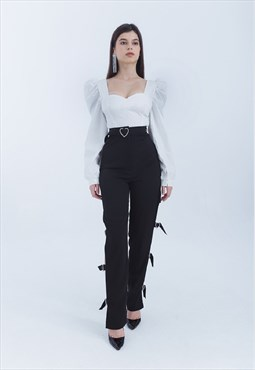 High Waisted Pants with Heart Buckles