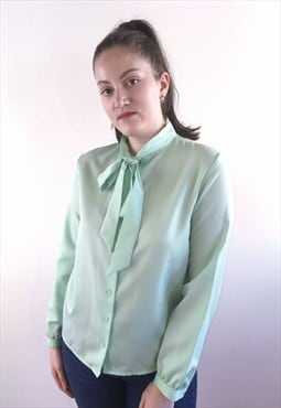 Womens Vintage 80s top mint green pussybow blouse shirt
