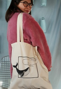 Organic tote bag in natural with whale print