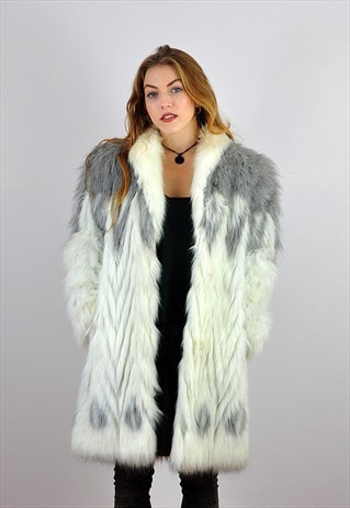 VINTAGE 1980'S GREY & WHITE FAUX FUR ASTRAKA COAT