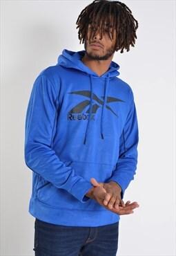 Vintage Reebok Big Logo Sweatshirt Hoodie Blue