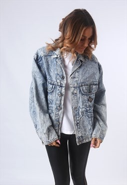 Acid Wash Denim Jacket Oversized UK 14 (EE1S)