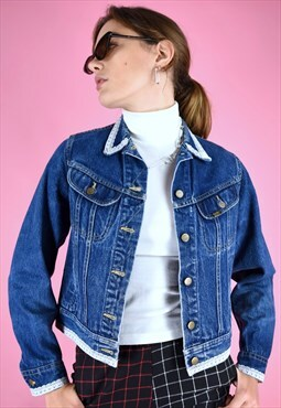 Vintage 90s Denim Jacket in Blue with White Lace Trim Edge