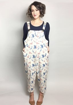 Bird Print Relaxed Fit Dungarees