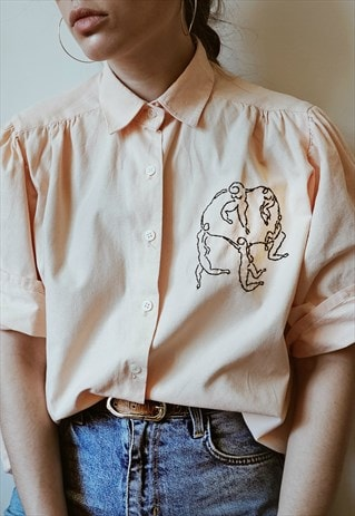 HAND EMBROIDERED PEACHY PINK SHIRT