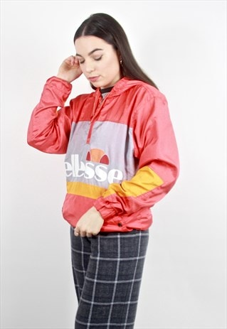 90'S RETRO ORANGE SPELL-OUT PULLOVER 1/4 ZIP JACKET