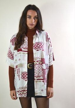 1990s Vintage White & Red Abstract Printed Shirt