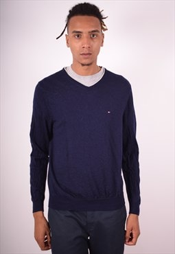 Tommy Hilfiger Mens Vintage Jumper Sweater Large Navy 90s