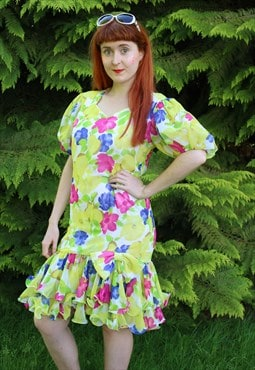 Vintage 80s Yellow Pink Blue Floral Party Dress With Ruffles