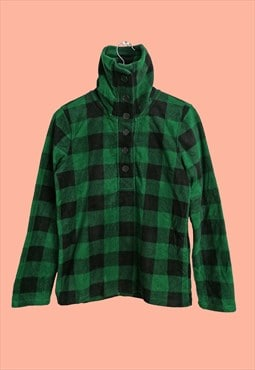 Vintage 90's Checks Plaid Flannel Fleece Winter Sweatshirt