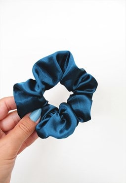 Teal Blue Satin Hair Band Scrunchie