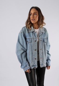 Vintage Denim Jacket Oversized Fitted UK 14-16 Large  (CCB)