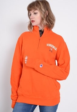 Vintage Champion 1/4 Zip Sweatshirt Orange