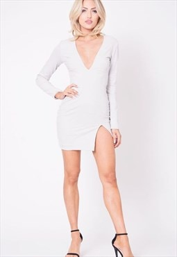 Womens Long Sleeve Faux Suede V-Neck Mini Dress Solid Silver