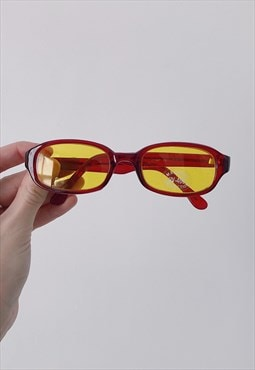 Retro 90s Vintage Deadstock Red Yellow Rectangle Sunglasses