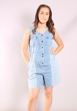 Vintage 80s Denim Pin Stripe Playsuit