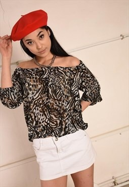 Y2K retro animal print sheer shimmer detailed bardot blouse