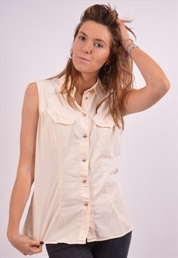 Vintage Shirt Sleeveless Beige