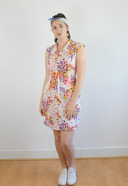Womens Vintage 60s dress floral patterned sleeveless