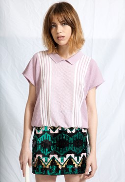 90s Green Aztec Sequin Mini Skirt
