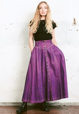 Vintage 90s Coloured Denim Maxi Skirt