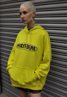Loose fit oversize pray for me embroidered slogan hoodie top